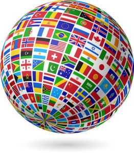 A sphere with lots of national flags all over it.