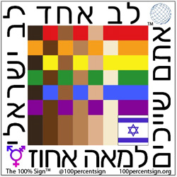 100% Sign in Hebrew with the national flag of Israel in the corner